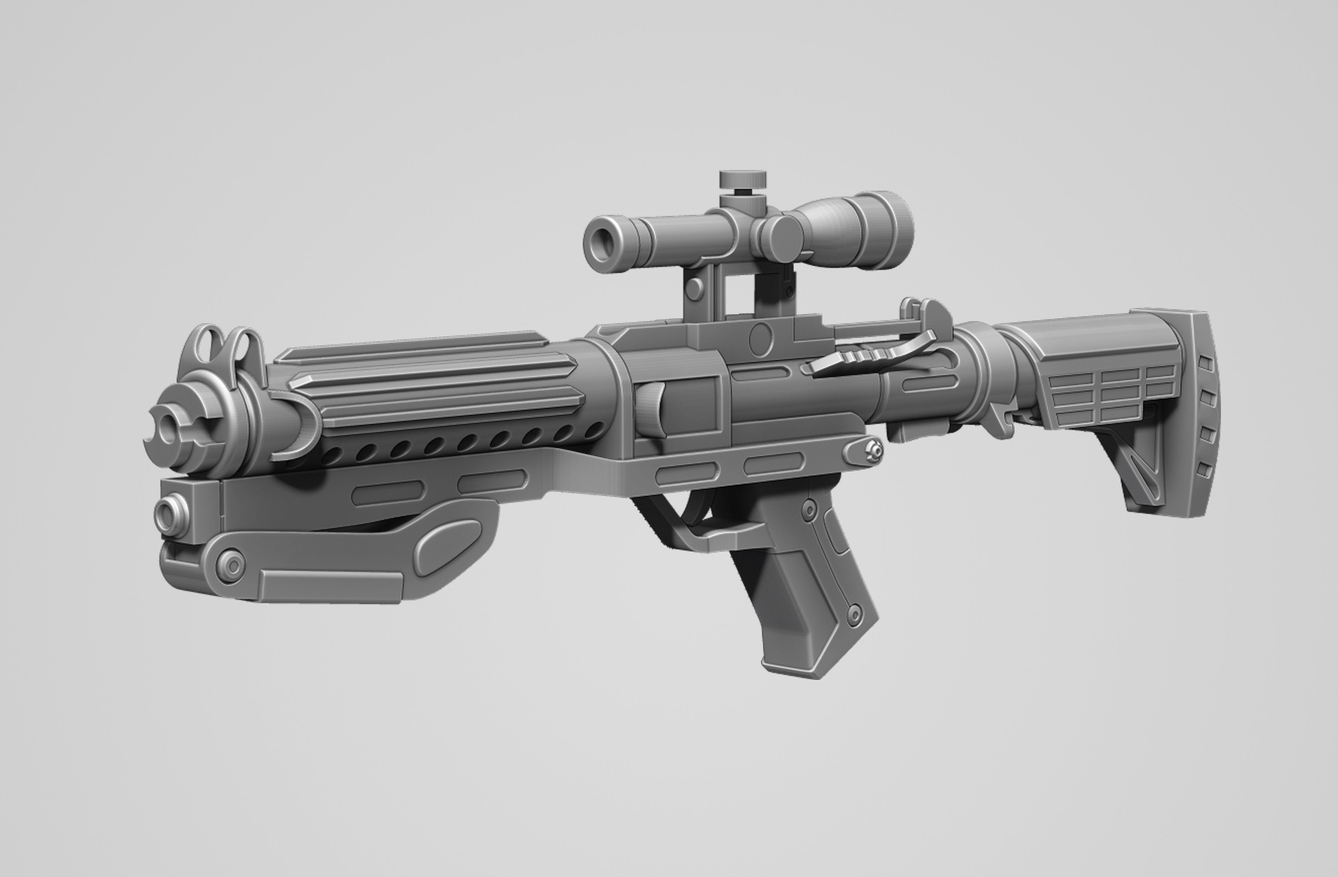3D model Blaster rifle F-11D with stock from Star Wars 2