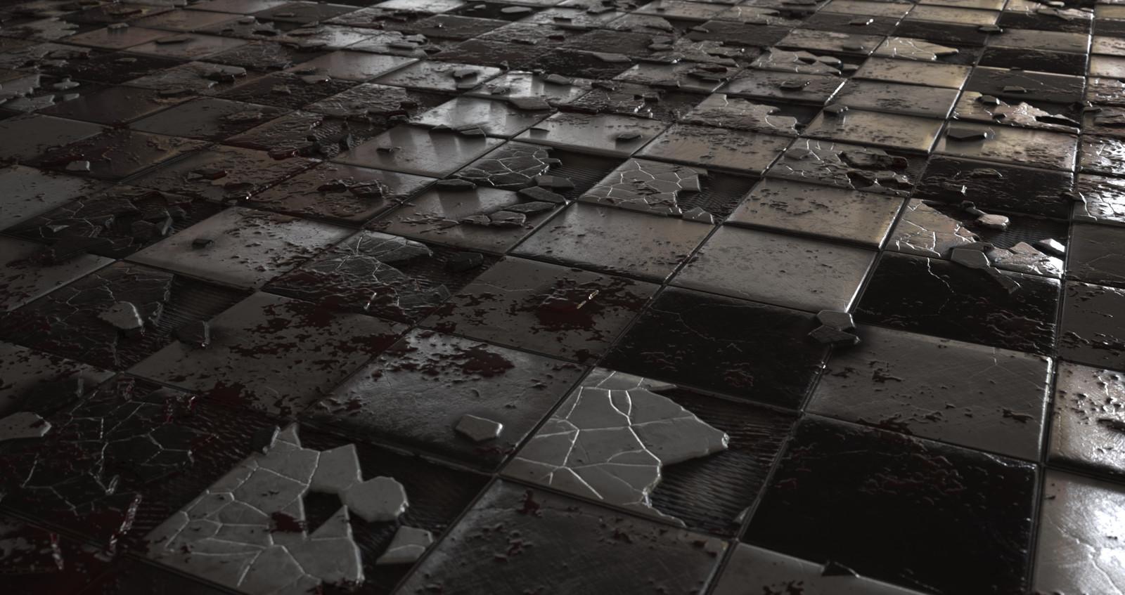 Cracked checker tile floor.