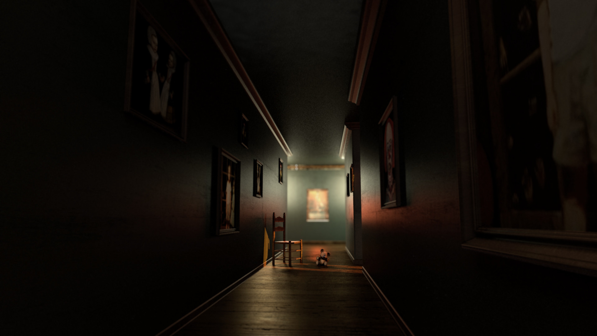 adding an object of focus in the center & ArtStation - Creepy\Horror Lighting practice Ron haimov
