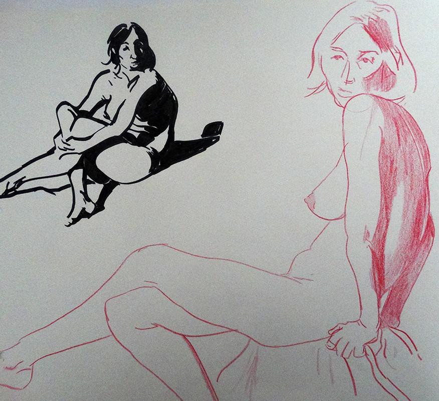 Black felt-tip pen (left), red pencil (right)