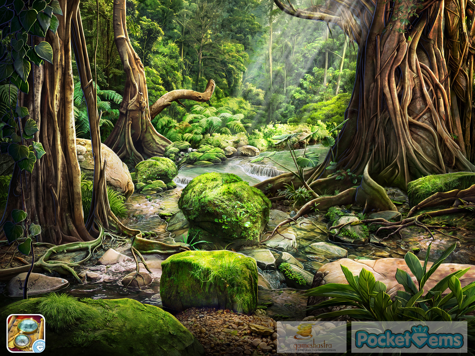 Great Painted Background For A Hidden Object Style Game. The Scene Was First 3d  Modeled In Maya, Then Over Painted In Photoshop.