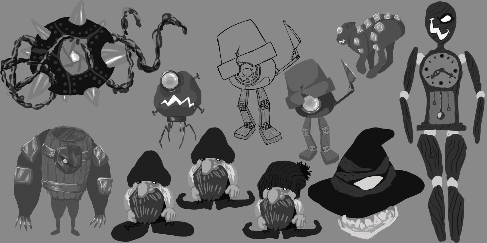 First batch of creature thumbnails for desert and fae forest.