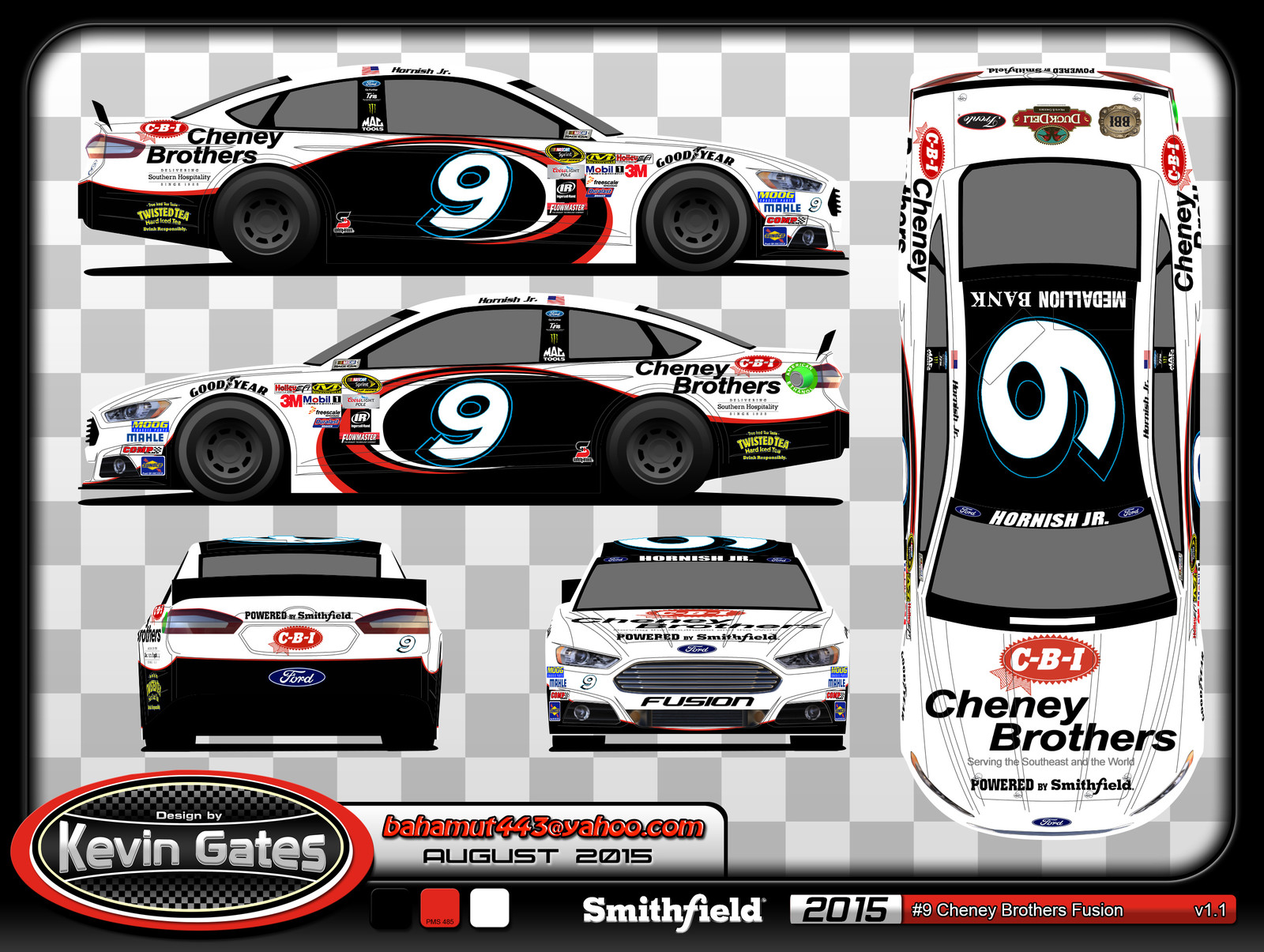 Original vector art of the 2015 #9 Cheney Brothers Ford Fusion