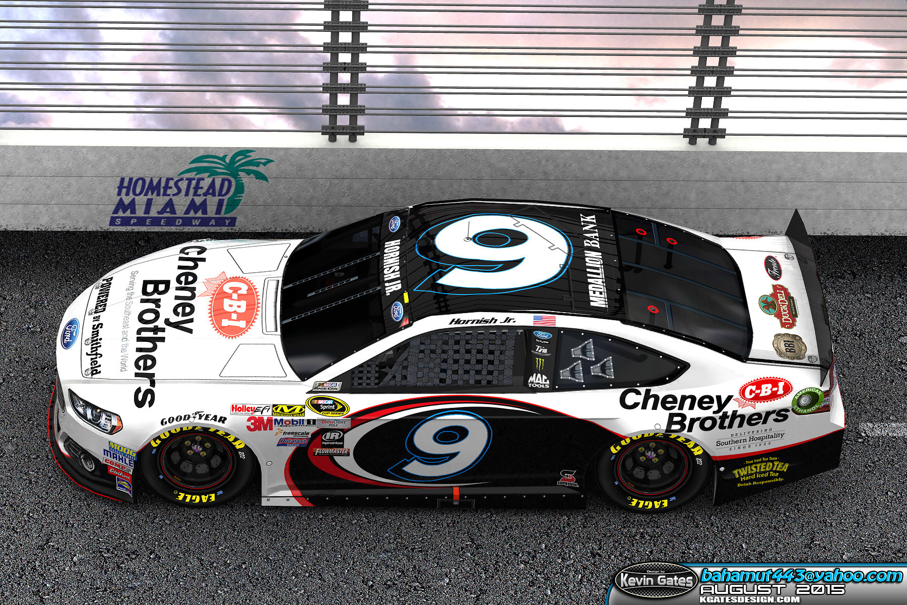Original Autodesk 3DS Max Daytona track render of the finalized 2015 #9 Cheney Brothers, Inc. Ford Fusion driven by NASCAR Sprint Cup Series driver Sam Hornish Jr. of Richard Petty Motorsports