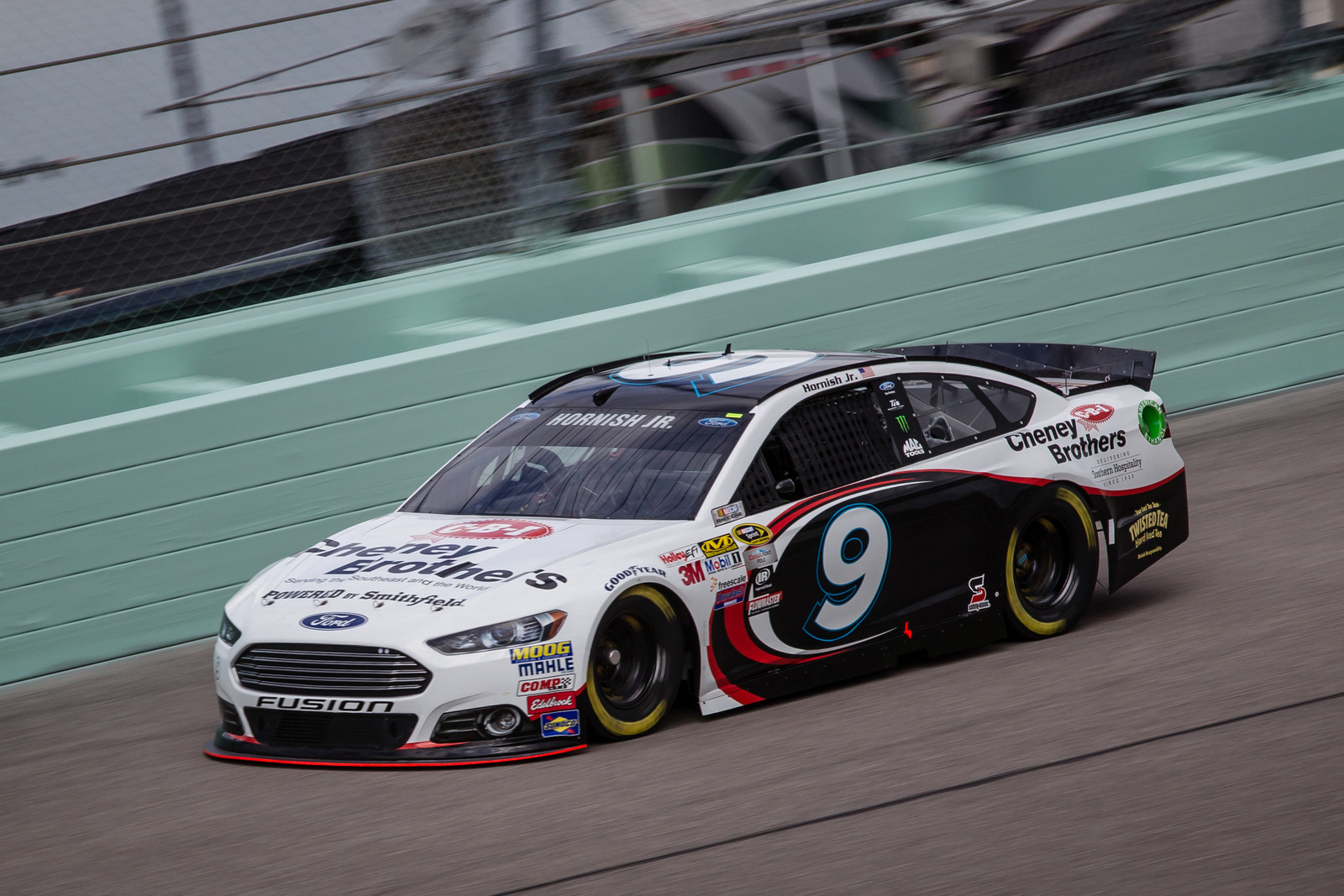 NASCAR Sprint Cup driver Sam Hornish Jr. pilots the #9 Cheney Brothers Ford Fusion during the Ford 400 at Homestead-Miami Speedway on November 22nd, 2015
