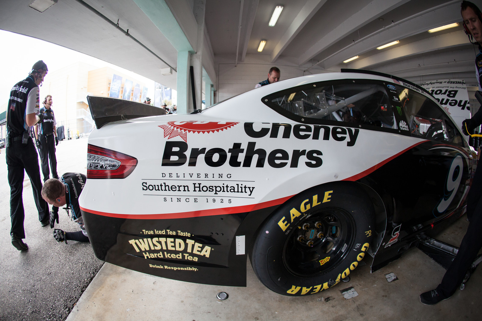 The #9 crew preparing the Cheney Brothers Ford Fusion during for the Ford 400 from the garage at Homestead-Miami Speedway on November 22nd, 2015