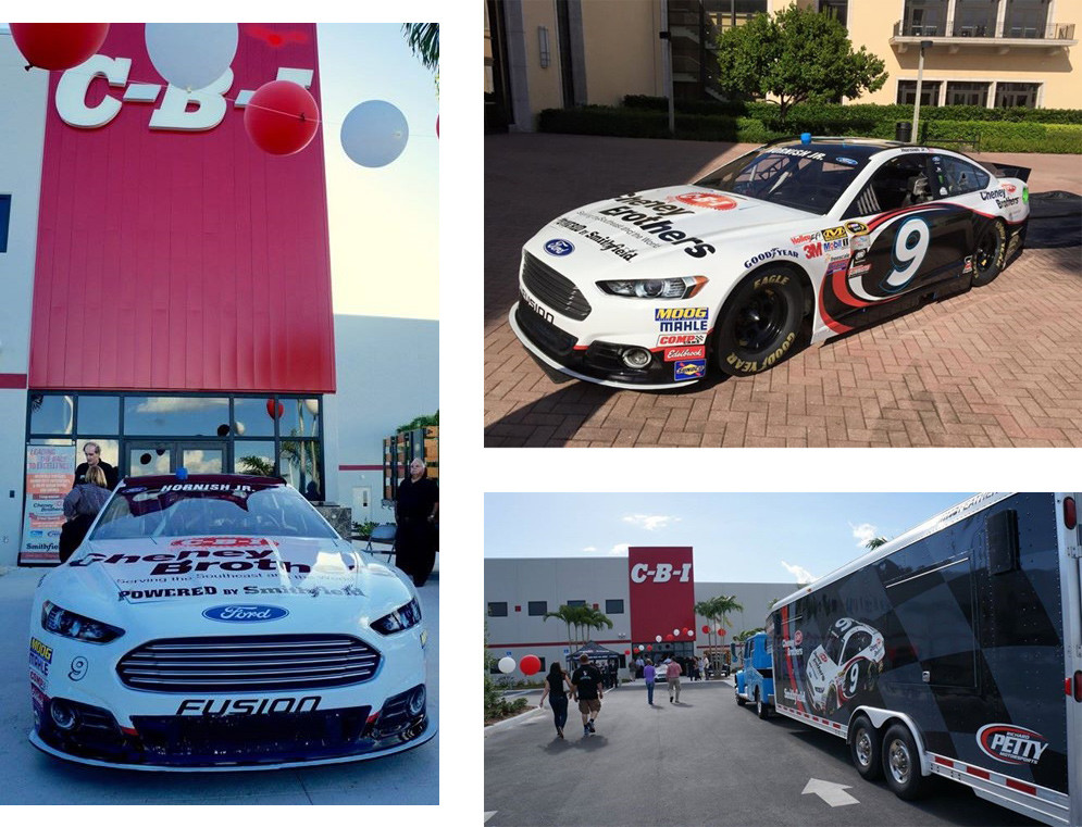 The #9 Cheney Brothers Ford Fusion on display during the Grand Opening of their SW Florida location in Punta Gorda. (Photo credit: Cheney Brothers, Inc Facebook page)