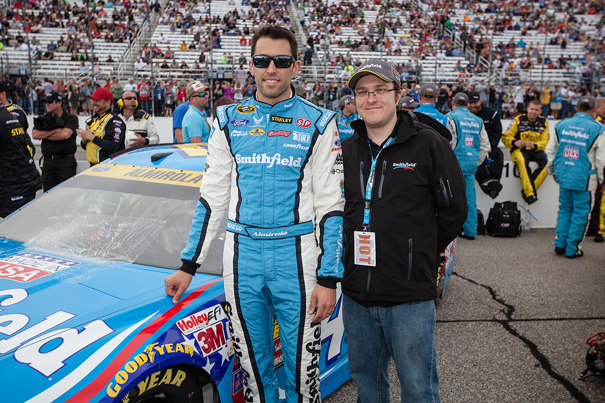Posing with Aric Almirola before the start of the Fall New Hampshire Motor Speedway event.