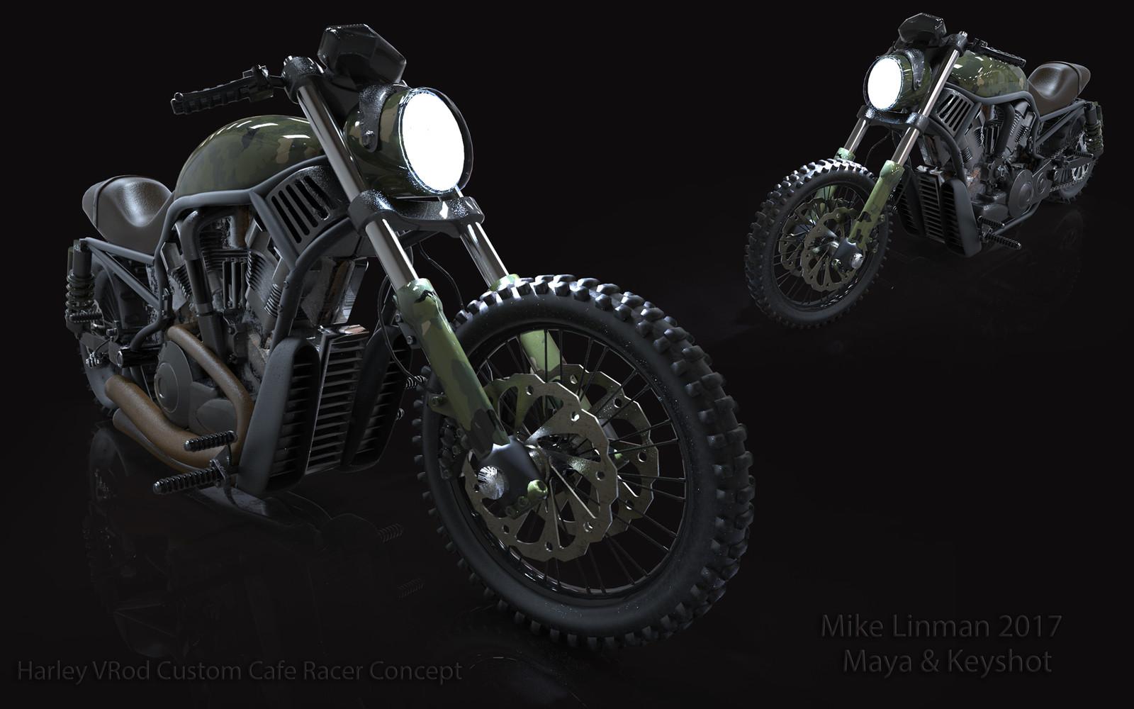 3D Harley VRod Cafe Racer concept.