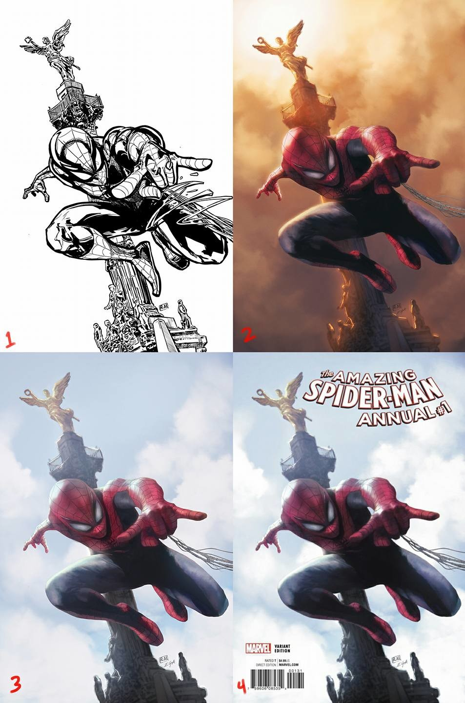 1.- Line art from Raúl Valdés. 2.- I made some adjustments on the anatomy of the awesome Raúl's line art and did the first color painting, but the guys in Marvel asked for a blue sky. 3.- Painting with the blue sky. 4.- Final adjustments