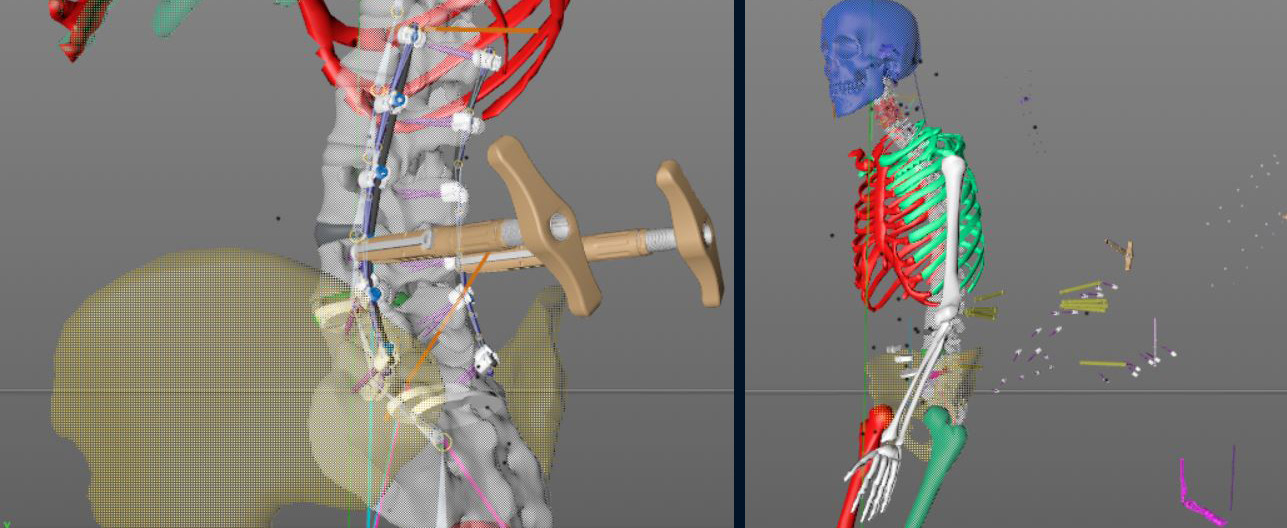 I was responsible for all the 3D content, which meant rigging the skeleton, cleaning their CAD assets for real time use, animating the movement of parts, and working with programming to debug problems.