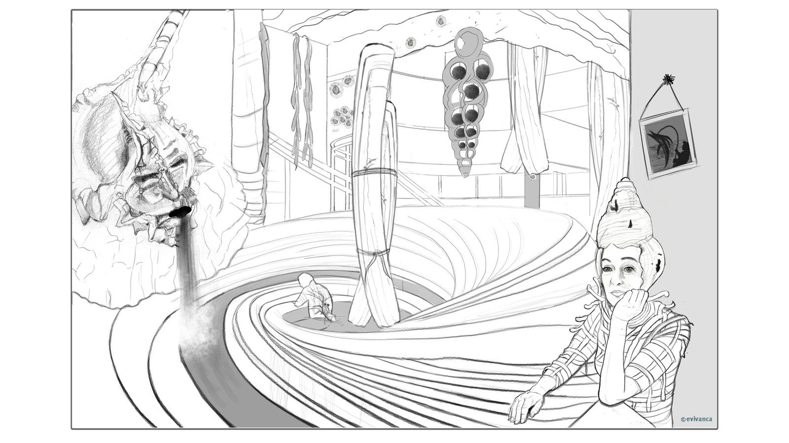 Study for an interior design for my Calusa shell city - a bathhouse - picture 2 frame2