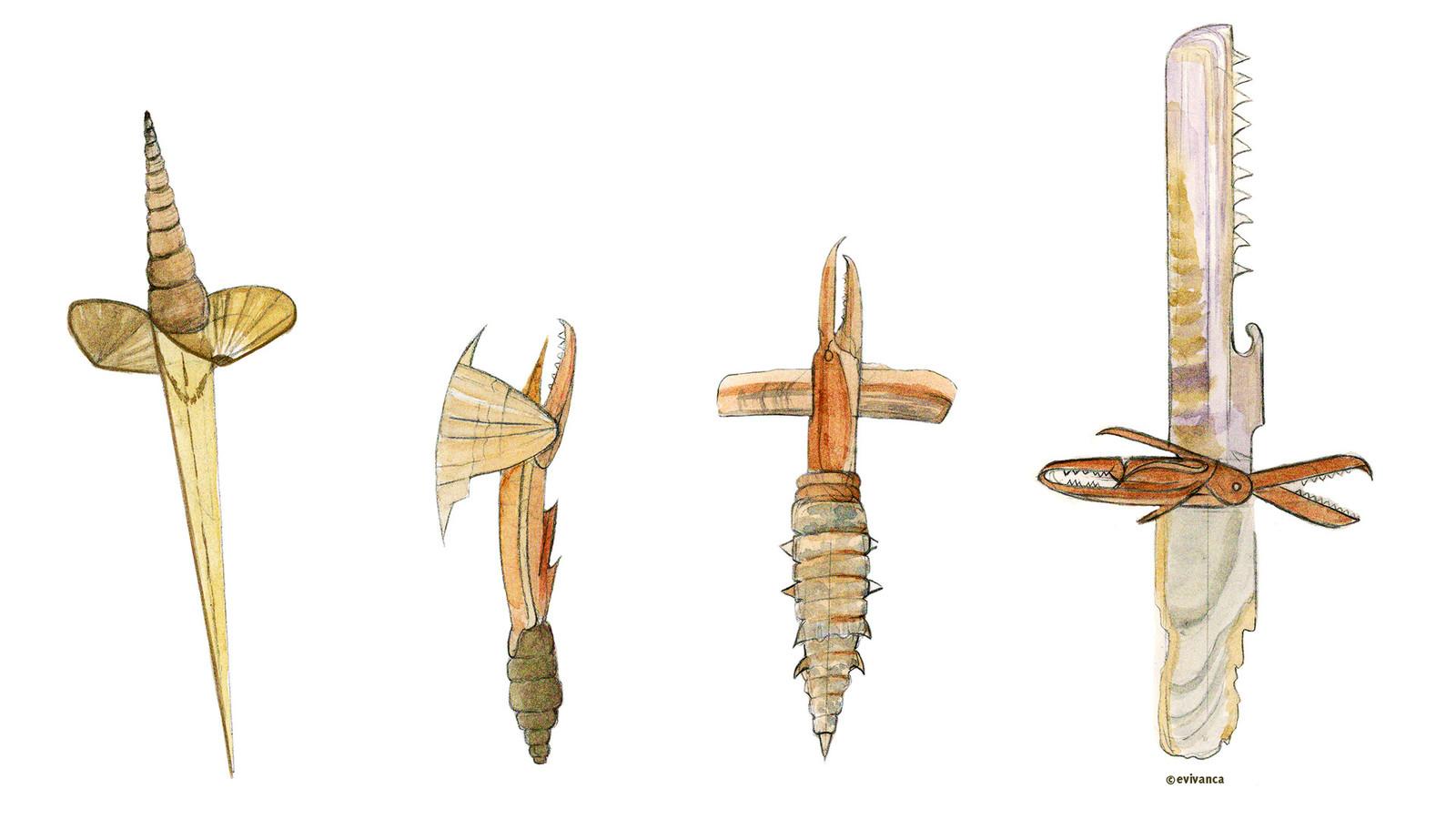 4 handweapons made of shells