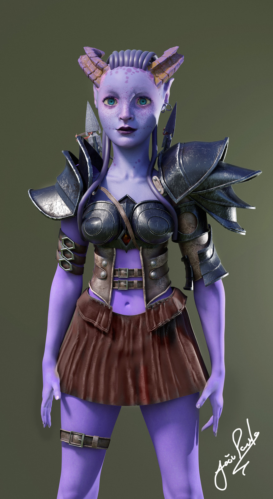 Blue Female Creature - sculpting and texturing study