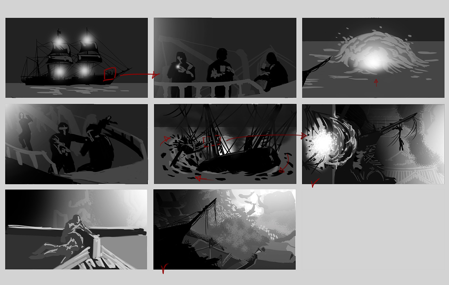 """Storyboard of the """"Discovery"""" frames"""