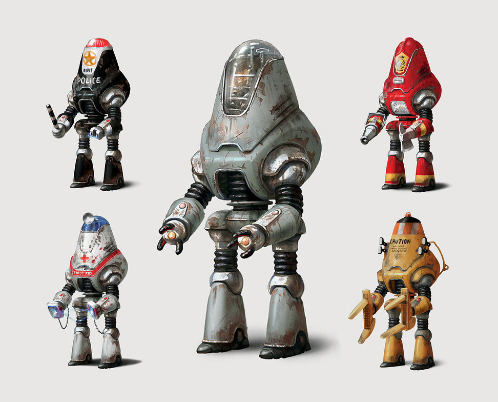 Concept art for Protectrons for Fallout 4 for Bethesda Game Studios.