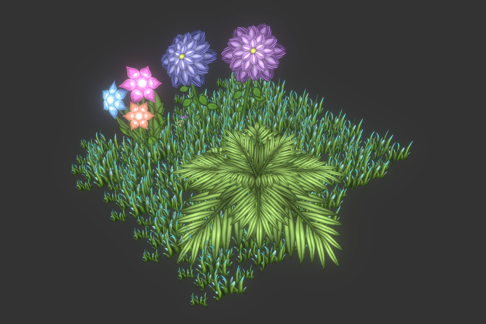 Here is a shot of the fist foliage I made for the environment. I use a blank green canvas in photoshop and paint leaves and such on it and later place it on bended planes in maya with the use of Opacity.