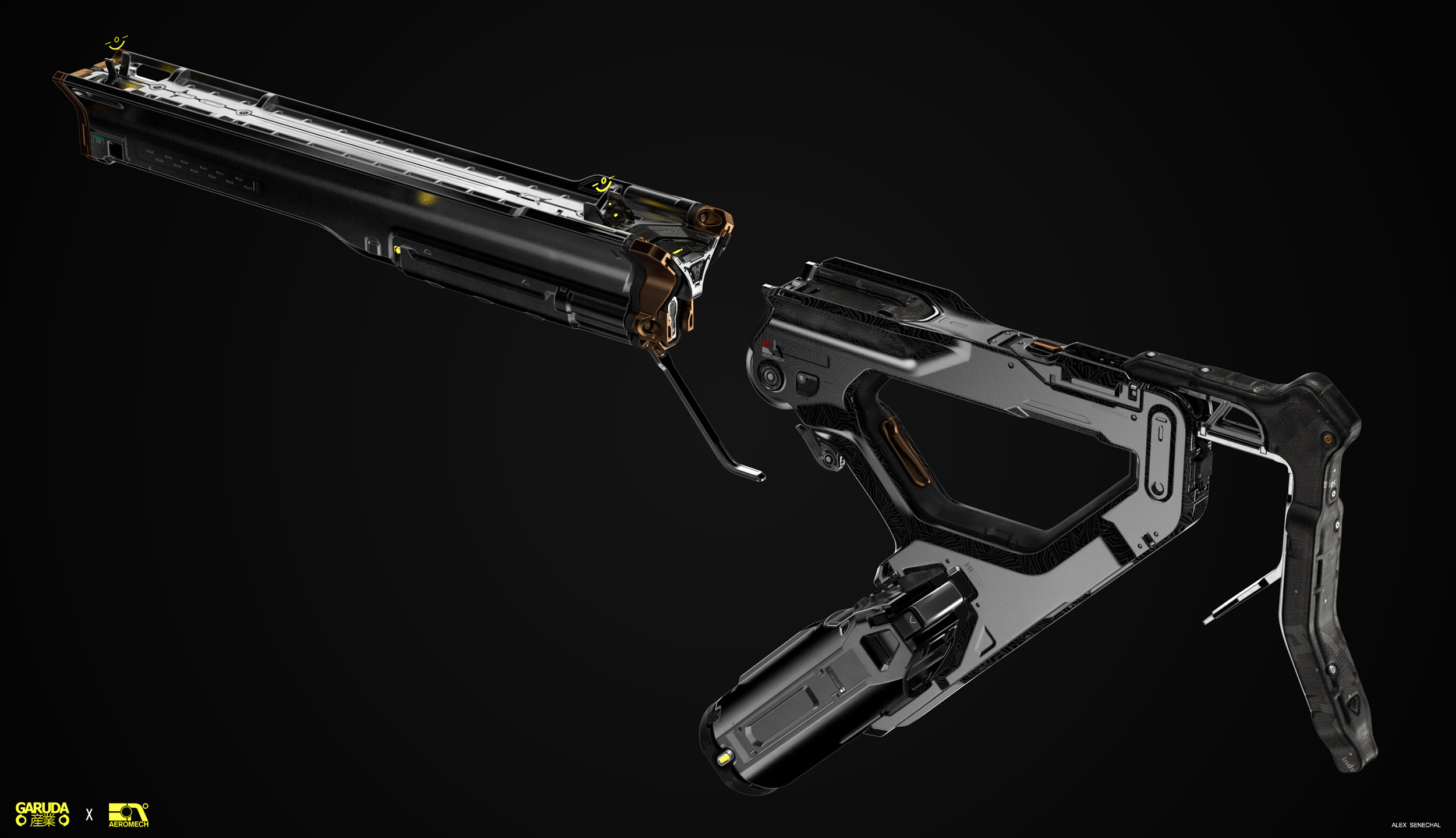 AeroMech created parts of the rifle in conjunction with Garuda Industries
