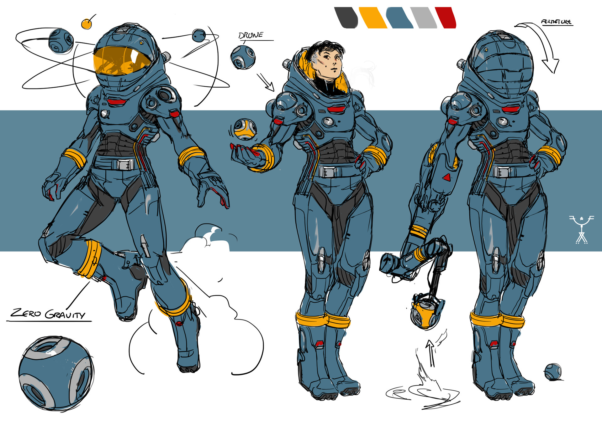 Fred augis blue space suit design for Space suit design