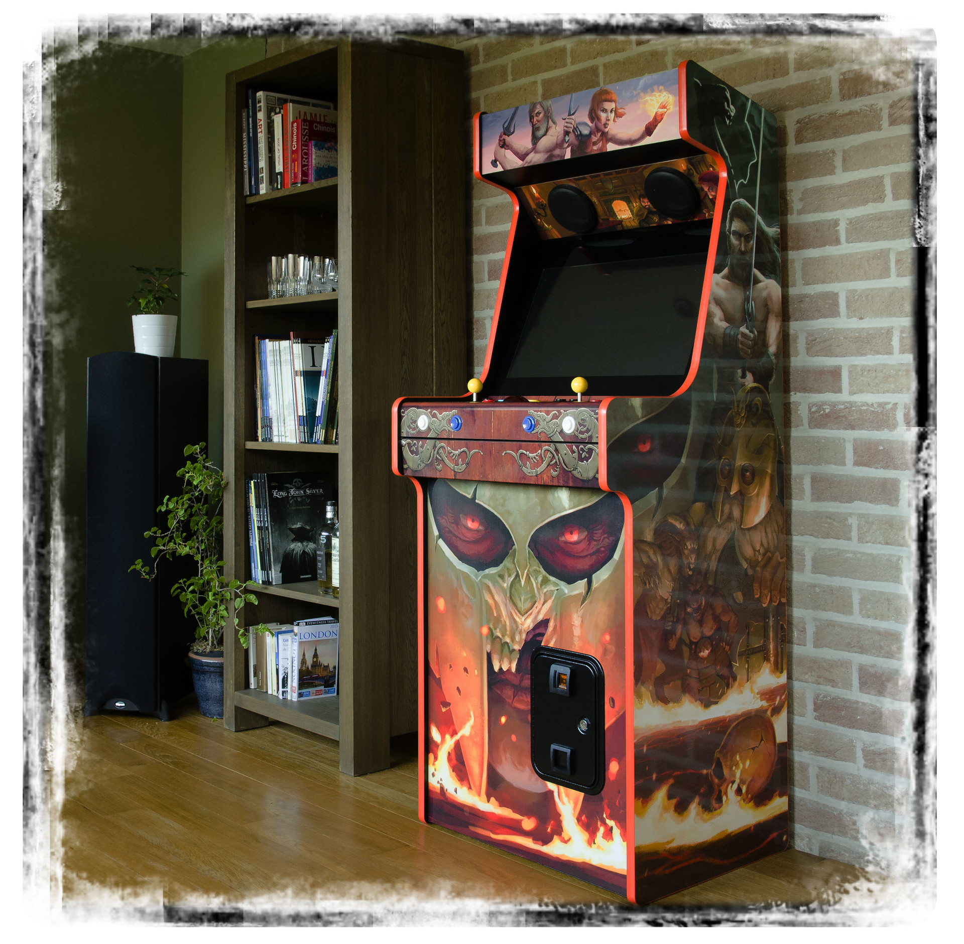 Real arcade with the printed stickers
