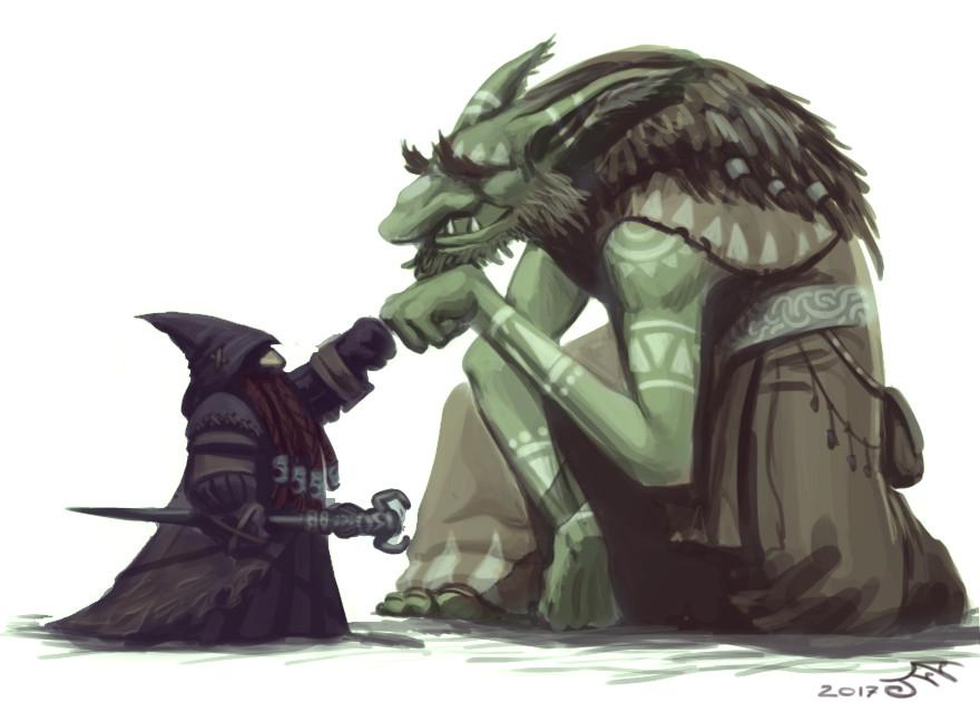 Dwarf Black Mage, Troll White Mage, Brofist
