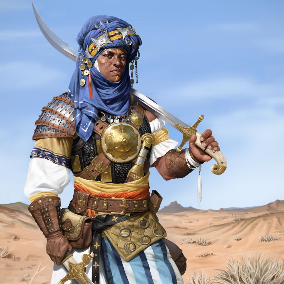 Tuareg Knight with 2 Shamshir swords