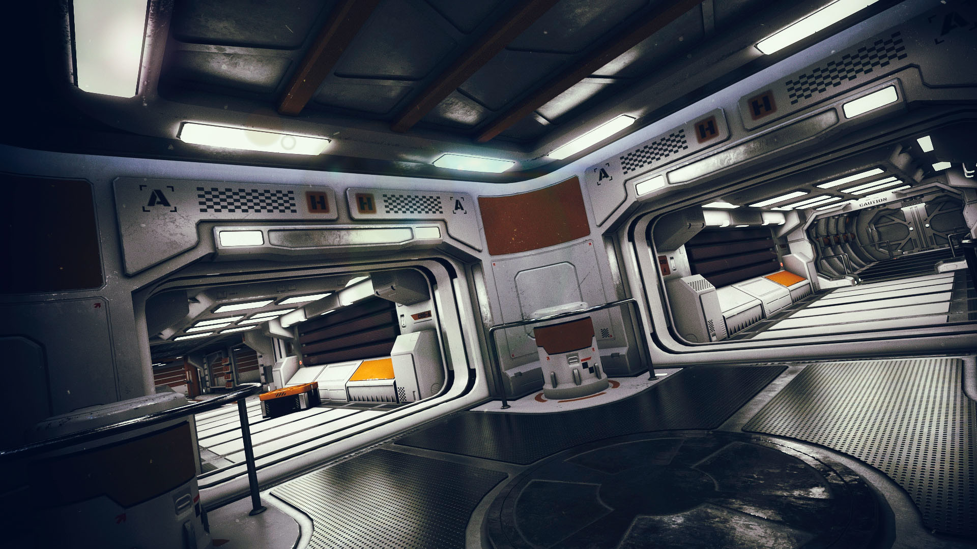 artstation sci fi interior kit 2 mely 3d. Black Bedroom Furniture Sets. Home Design Ideas