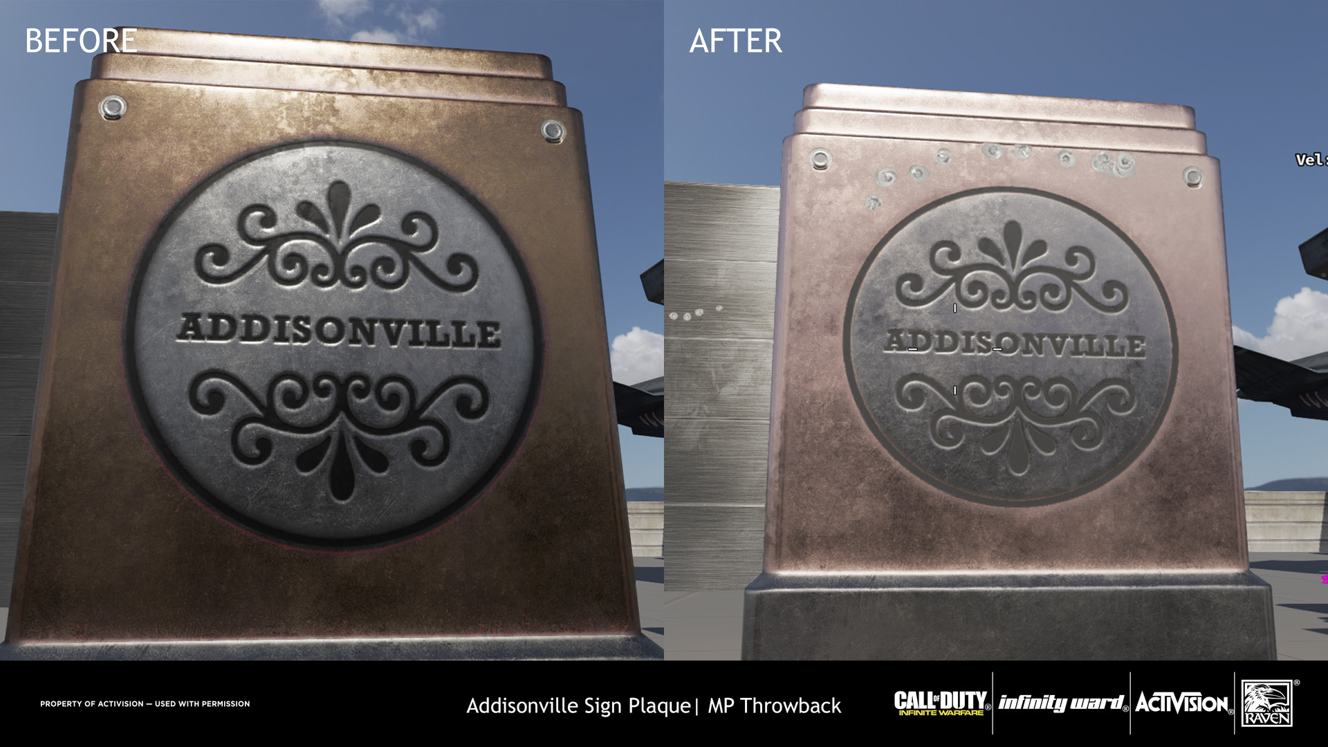 Specular values were adjusted to better match Iron metal, values for the lettering and outline were adjusted to not be dark.