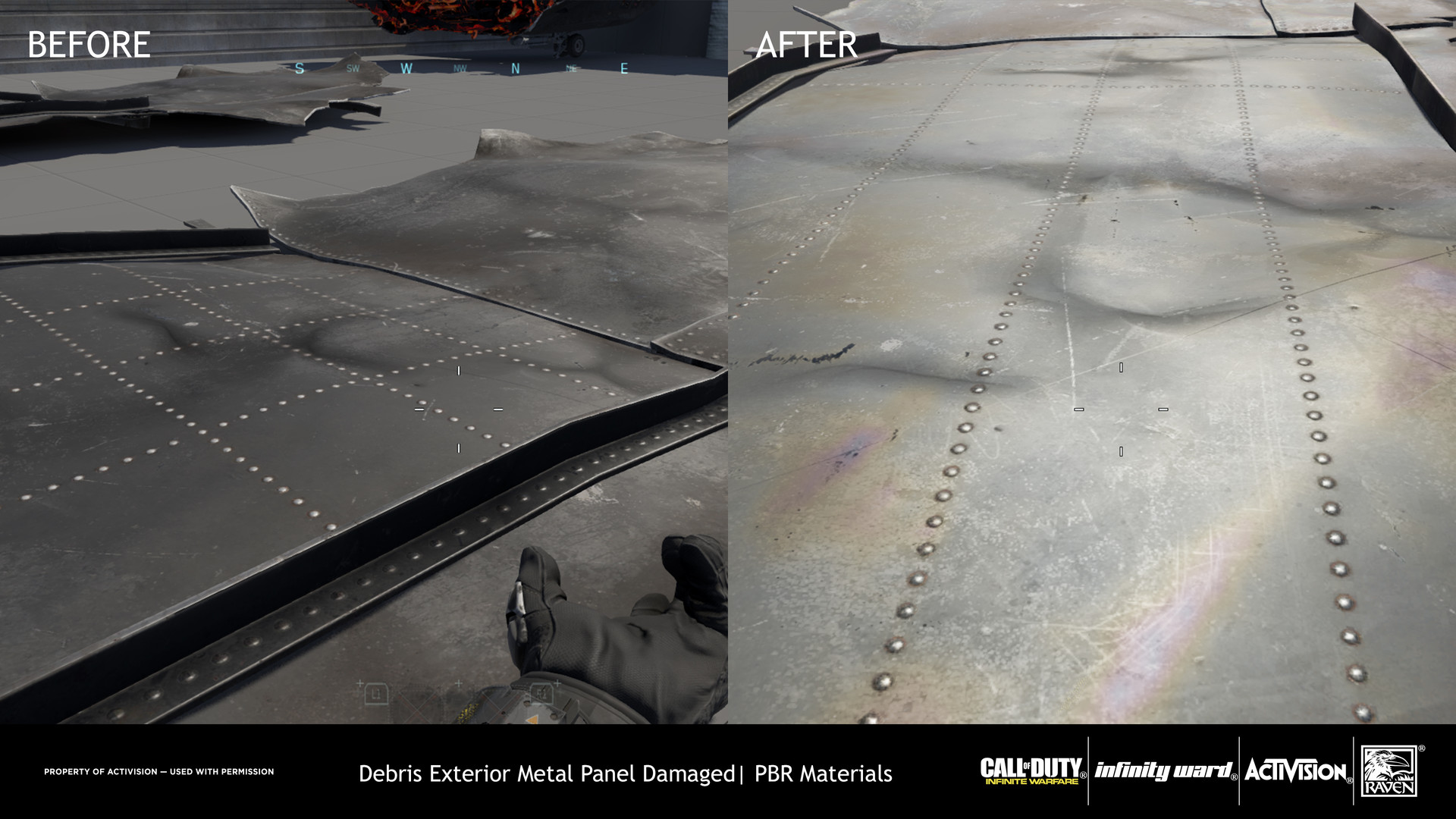 This was treated as a damaged metal were the diffuse could be at lighter value than black as well as the lowering of the specular value. Using a Specular Occlusion map generated from the Normal map, a mask for the Iridescence shader was applied.