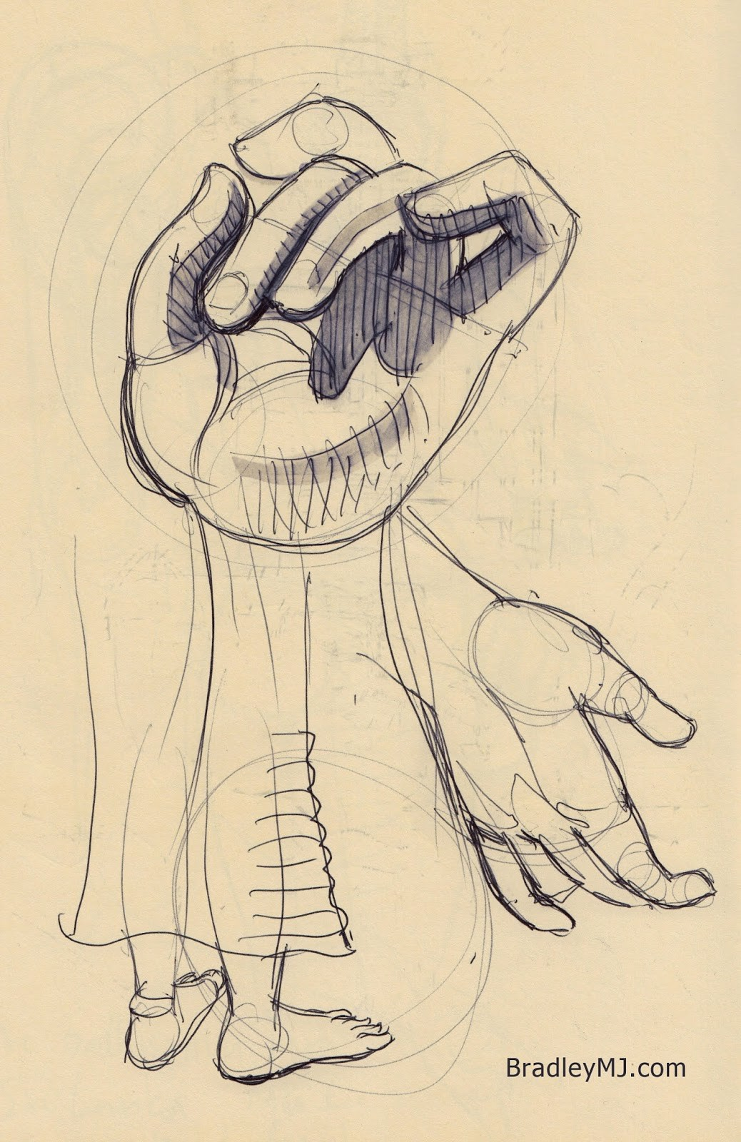 quick statue sketch notes of hands and feet