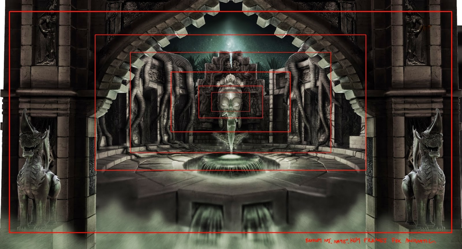 temple interior, animatic frames
