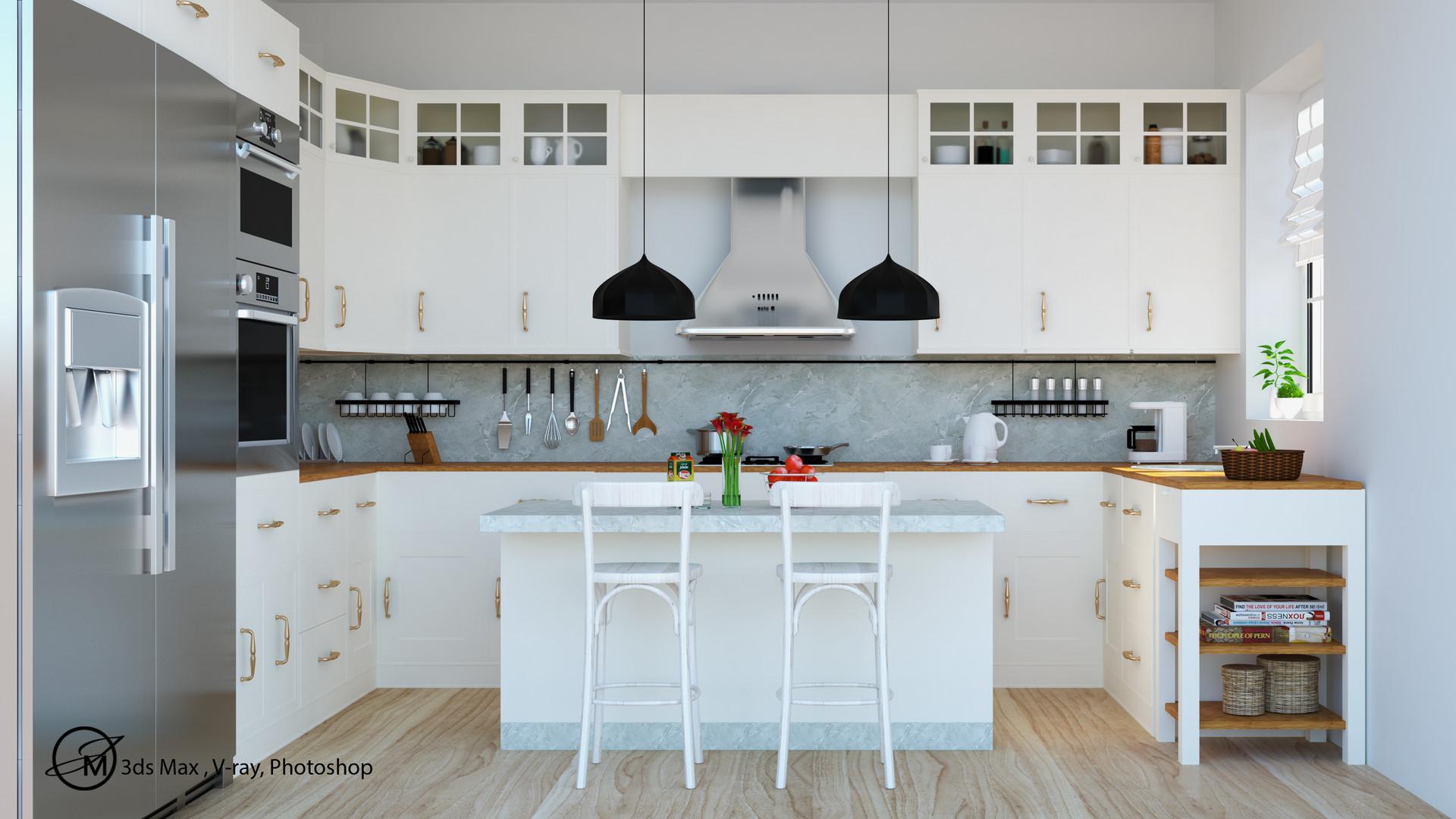 ArtStation - White Modular Kitchen , JASIM MALLICK