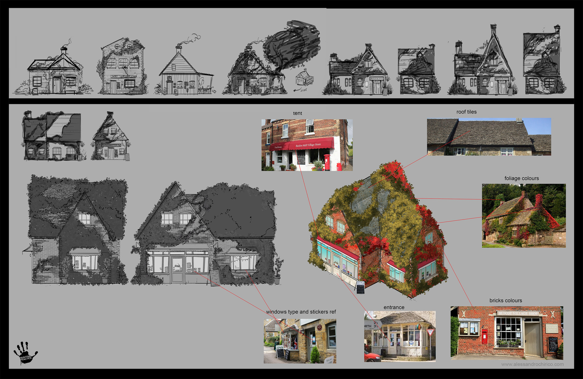 Layouts and final concept for the cottage.