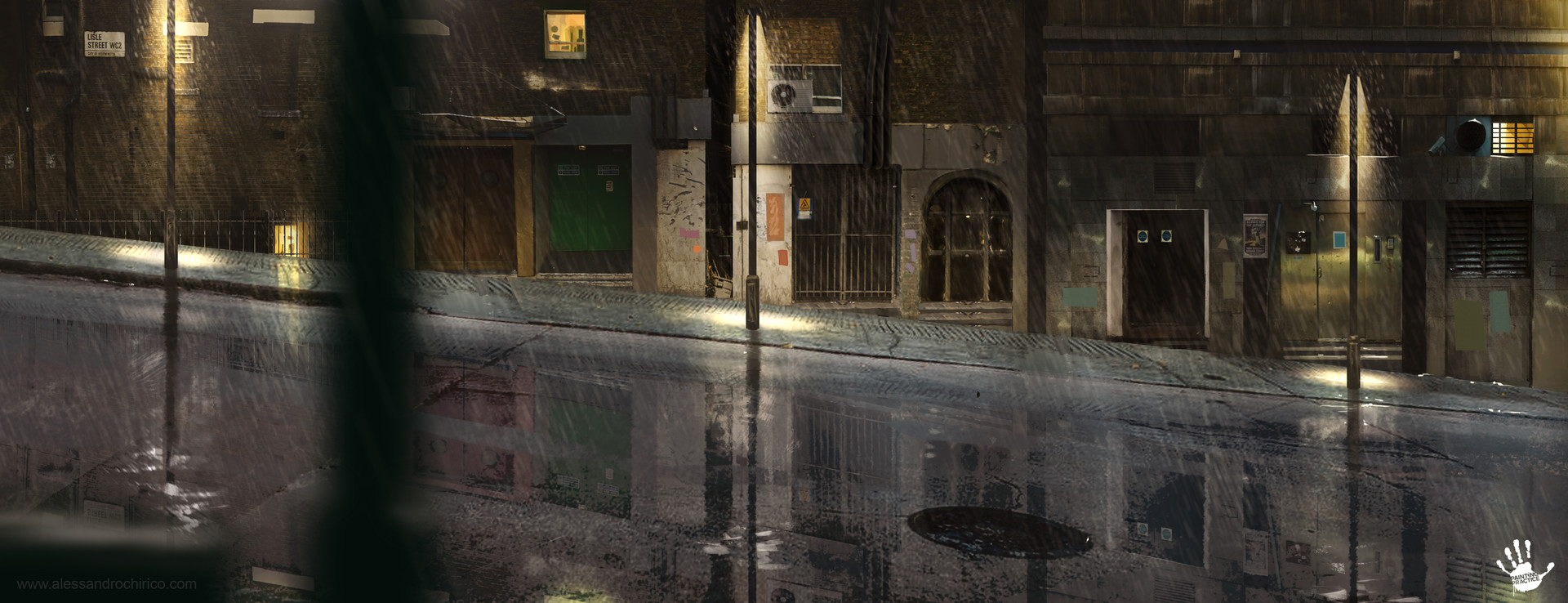 Concept for one of the matte painting of the sequence where Jack rides his bike under the rain.
