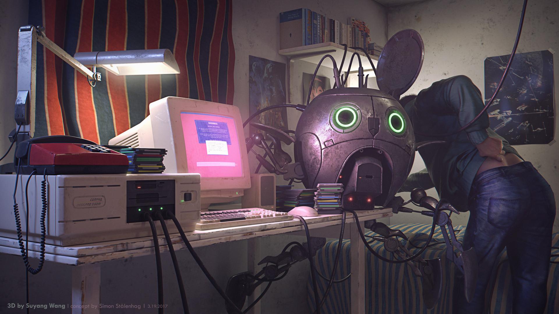 Suyang wang hacker room lighting low