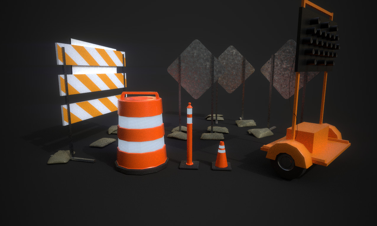 Construction Barrel and 2 size Cones - Complete with emissive reflector strips