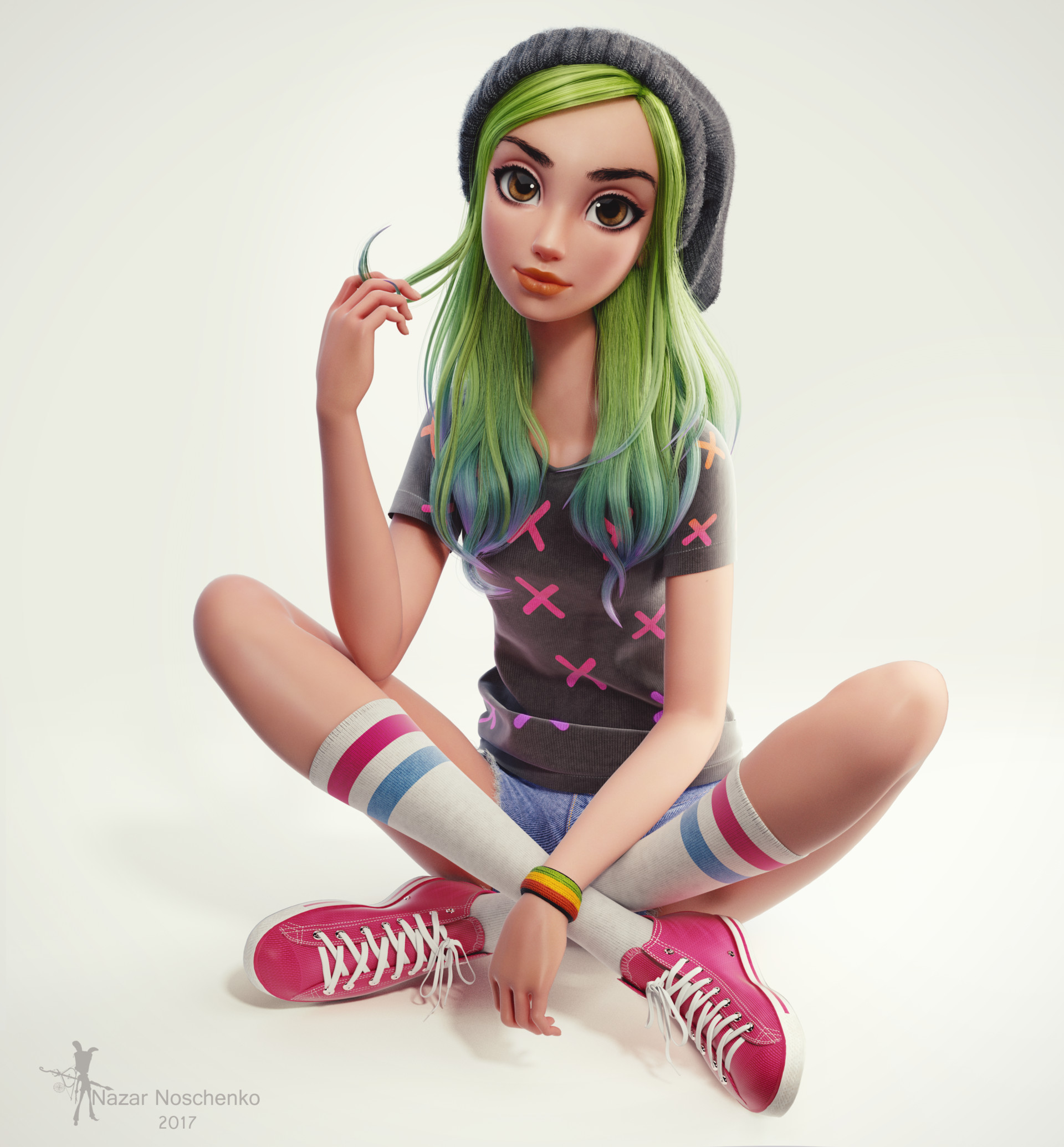 Artstation - Green Hair Girl, Nazar Noschenko-6337
