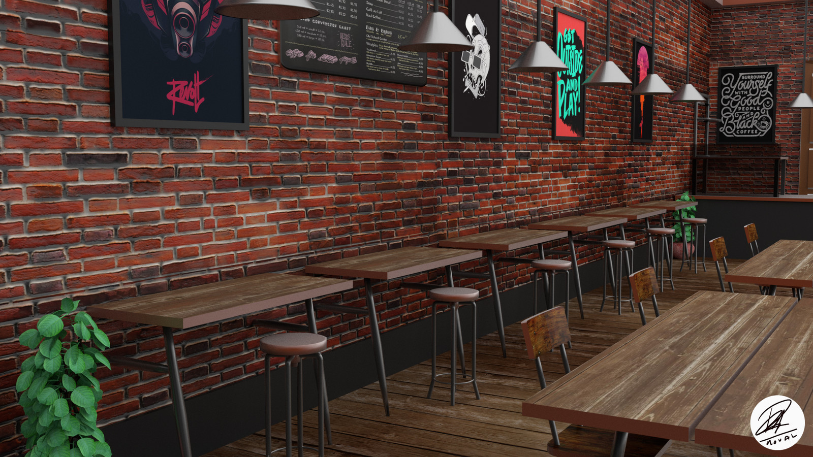 artstation - interior cafe design, mohamad imtinan nauval