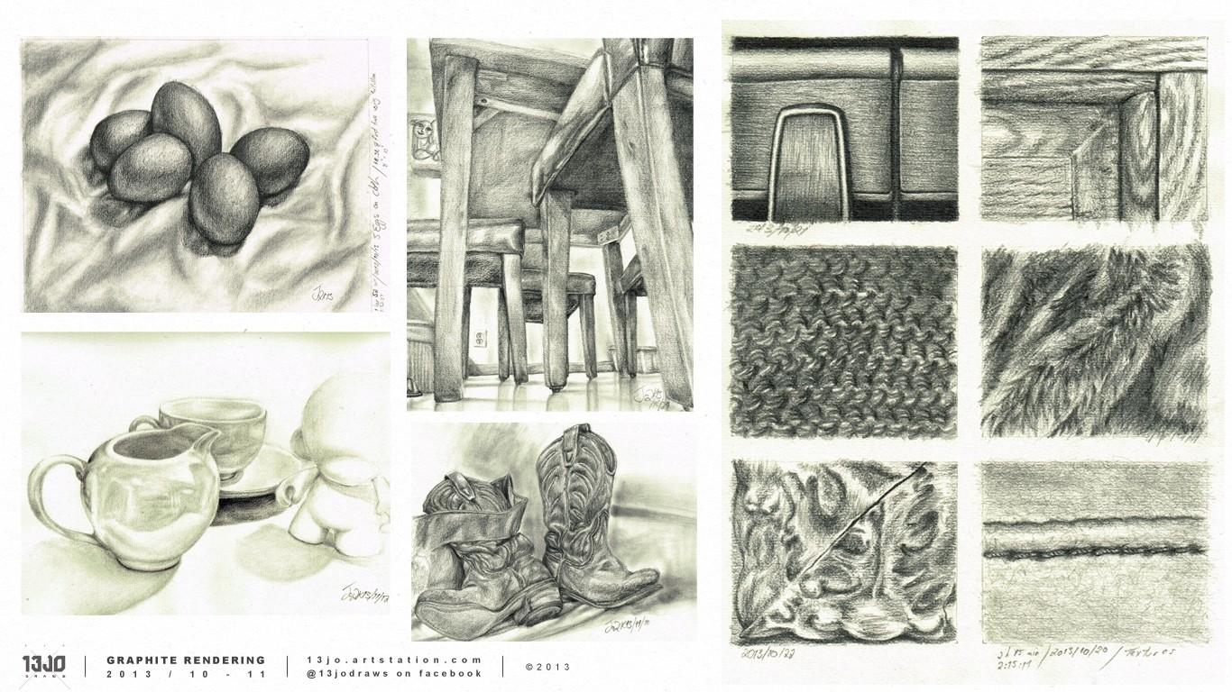 Still life and texture studies.