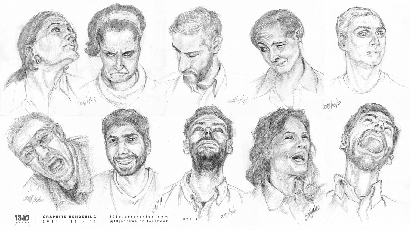 Faces and facial expression studies.