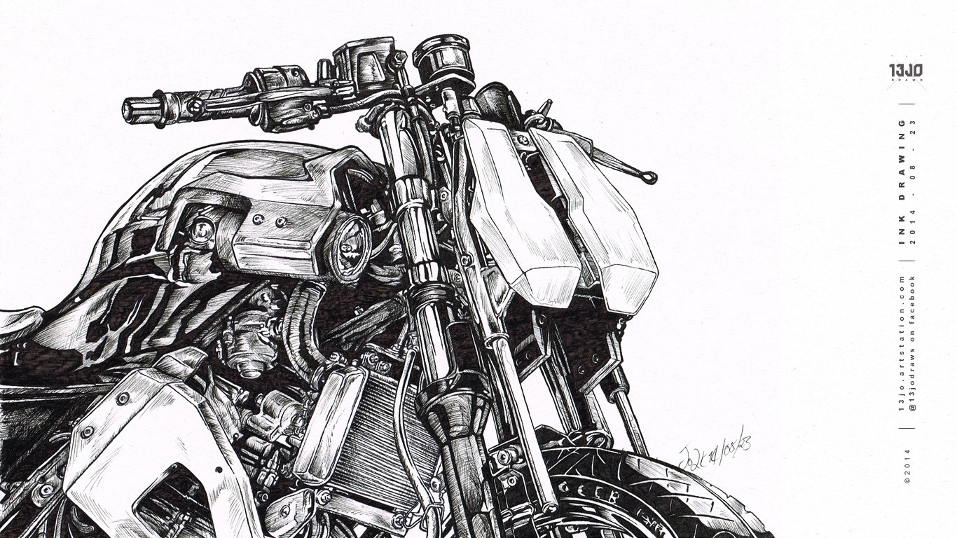 Ink pen study of the 31BLK Mod Kit by BLK Lab Motorcycles.