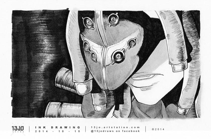 An inking study of Raizo from the GITS Arise manga.