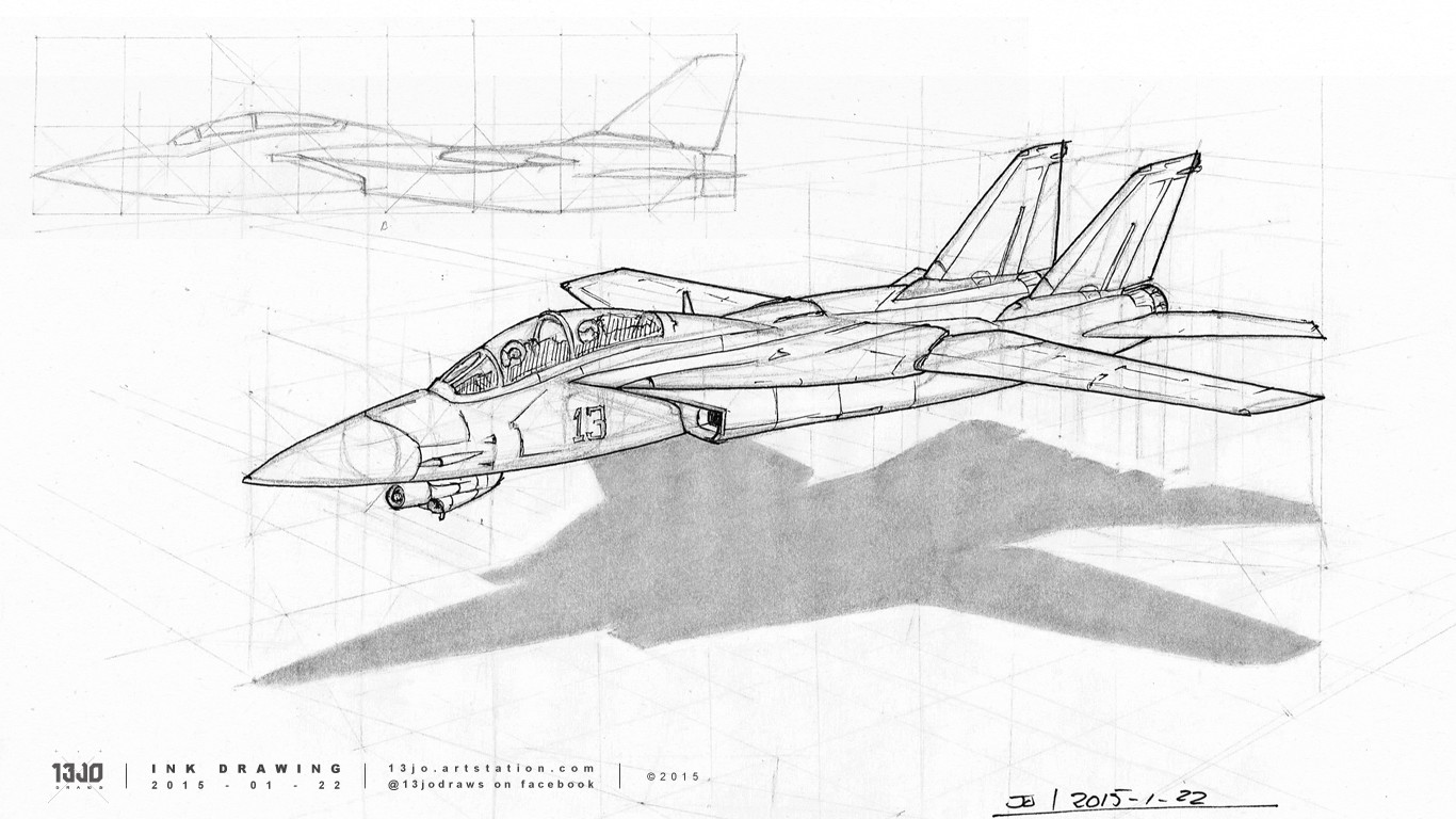 Draw-through perspective drawing exercise of a Grumman F-14 Tomcat, constructed in graphite pencil and finished off with ink pen line-art.