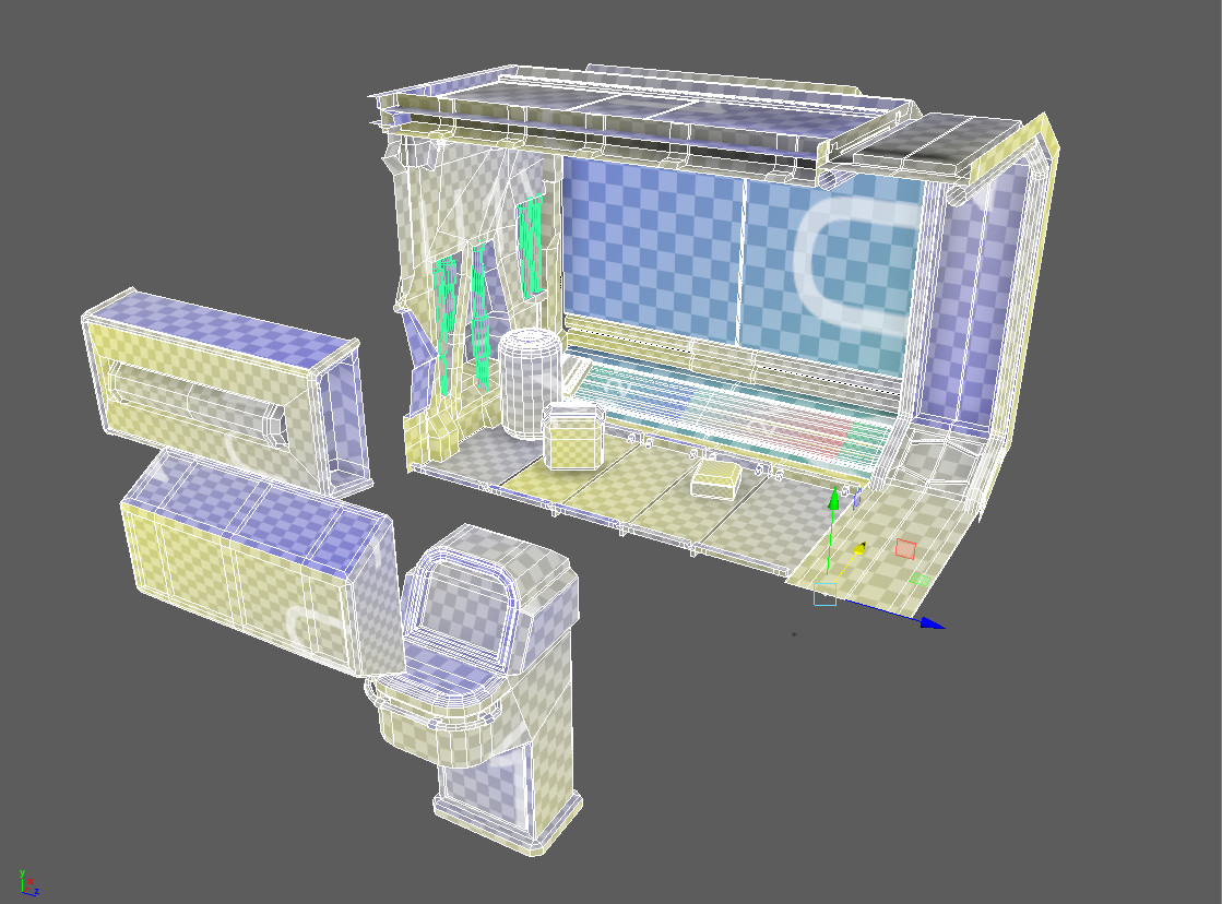 UV unwrapping. I decided to leave the terminal out, didn't quite feel it suited the environment.