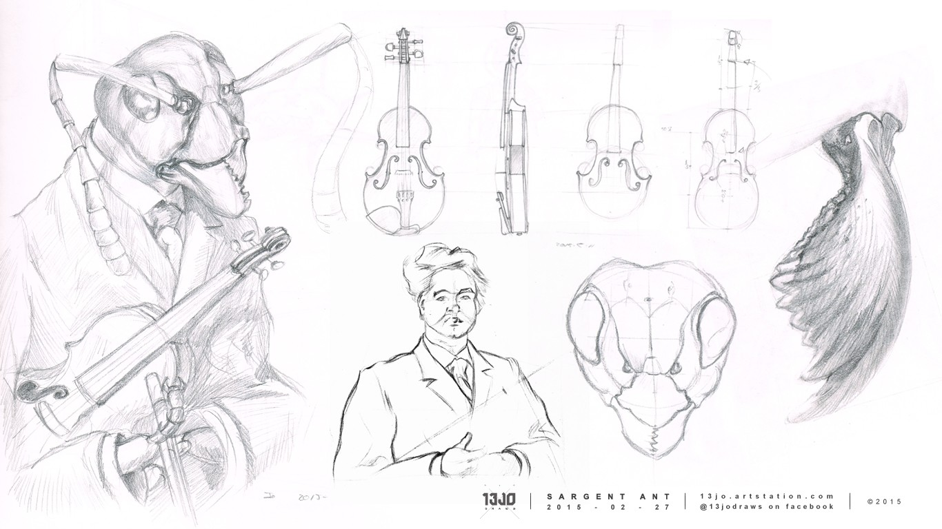 A quick pose sketch which didn't work out, and some more sketch studies to get more familiar with the anatomy of the ant and violin.