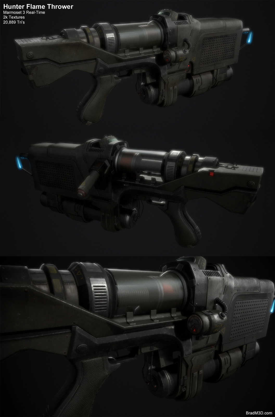 """Screen Grabs of the finished Gun for this """"Hunter"""" Character."""
