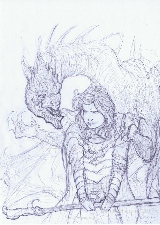 Syennara the mage and the dragon Jarf  rough drawing