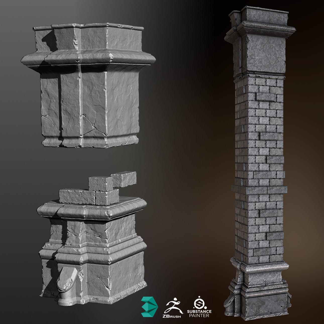 Construction Of A Stone Pillar : Artstation stone brick pillar lauri tolppa