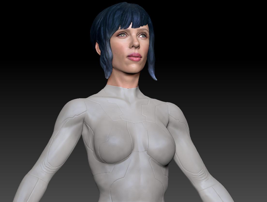 Ian Malcolm Ghost In The Shell 3d Model Scarlett Johansson