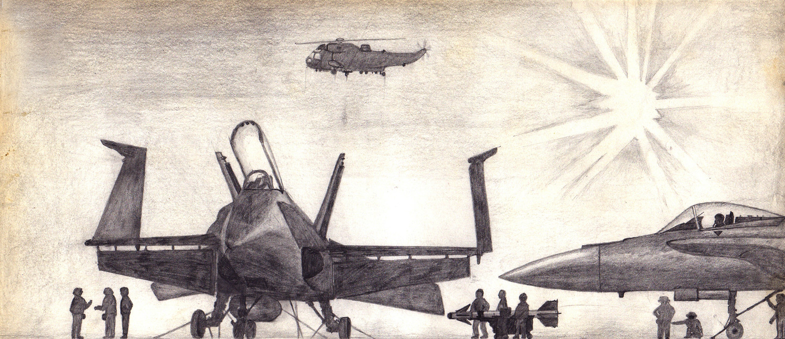 Riding on the Top Gun wave, I also did an illustration of Hornets on the top of a carrier deck. I also did NOT have a girlfriend back then.
